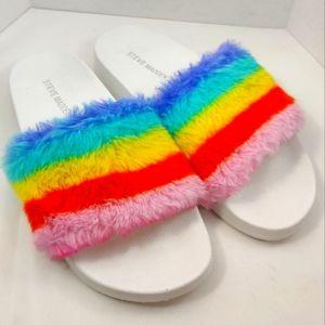 STEVE MADDEN Rainbow Softey Faux Fur Slide Sandal